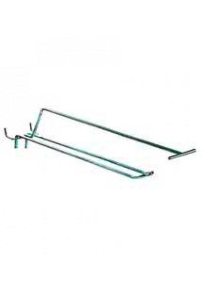Крючок двойной с ценникодержателем  150мм х 4,8мм х 25/50мм (Хром)